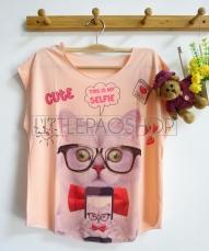 [IMPORT] Selfie Kitten Tee (pink) - ecer@52rb - seri3w 144rb - jersey - fit to L