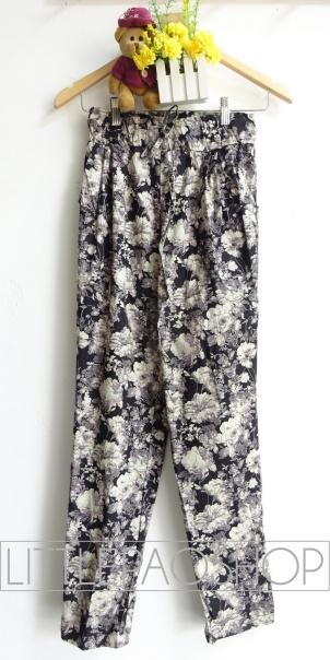 Wild Flowers Comfy Pants (black) - ecer@68rb - seri4w 252rb - katun stretch tebal - fit to ukuran 30