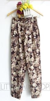 Wild Flowers Comfy Pants (brown) - ecer@68rb - seri4w 252rb - katun stretch tebal - fit to ukuran 30